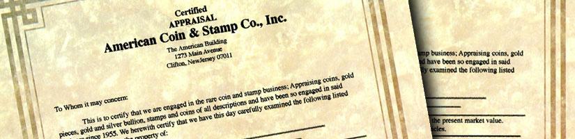 Appraisals - American Coin & Stamp